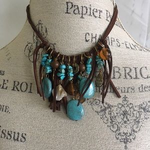 Leather &Turquoise Necklace
